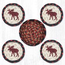 Moose 100% Natural Braided Jute Coaster Set of 4 with Jute Basket