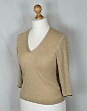 Ann Brooks Petite Gold Evening Top Sequins Size 12