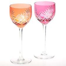 2 Vintage Weingläser Überfang orange rosa Stern Schliff ~ Art Deco 30er Jahre R4