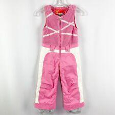 Obermeyer Girls Pink & White Love Fleece Bib Size 5 Ski Zip Up One Piece