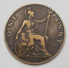 Great Britain 1903 Penny Vf * Very Attractive King Edward Vii Old Uk Bronze Coin