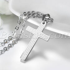 English Lord's Prayer Bible Cross Stainless Steel Chain Men Pendant Necklace Men