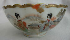 ANTIQUE HAND PAINTED ORIENTAL JAPANESE PORCELAIN BOWL - LADIES & VILLAGE SCENE