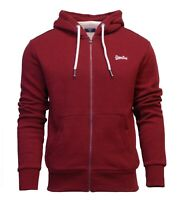 Superdry Mens New Orange Label Classic Long Sleeved Full Zip Hoody Red