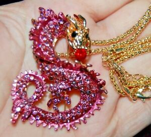 Stunning Pink Rhinestone DRAGON Broach Pendent Necklace Pendulum Totem Magic