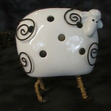 """Large White Porcelain Sheep Wrapped in Wire Candle Holder 9"""" x 8.5"""" Home Decor"""