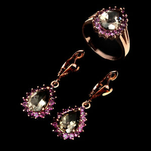 Pear 12x8mm Smoky Quartz Rhodolite Garnet 925 Sterling Silver Ring & Earrings