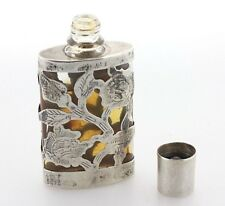 Vintage Hecho En Mexico Vintage Sterling Silver Etched Mini Glass Perfume Bottle