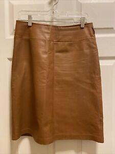 VAKKO SPORT 100% Lamb Leather Brown Mid Length Skirt Size 6
