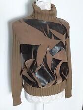 Rockaway camel brown rollneck zip ribbed wool print front jumper large 12 14 16