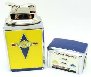 Vintage EVANS Blue Sunoco 2 Piece Figural Gas Pump Lighter NICE - Rare Version