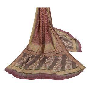 Sanskriti Vintage Dupatta Long Stole Pure Silk Dark Red Woven Printed Wrap Hijab
