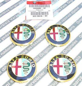 GENUINE ALFA ROMEO 145 147 156 166 GTV & SPIDER  New Alloy Wheel Center Caps Set