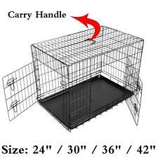 """Caisse Pliante Cage de Transport Metal Pour Chien Avec Plateau 24"""" 30"""" 36"""" 48"""""""