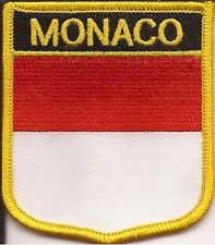 """MONACO SHIELD FLAG EMBROIDERED PATCH -- IRON-ON -- NEW  2.5"""" x 2/75"""""""