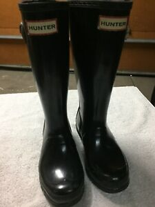 Hunter black rain boots.  Kids size 1