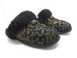 UGG Australia Womens Scuffette 1009193 Metallic Slipper Black/gold  Size 7M