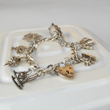 Hallmarked Vintage Silver Charm Bracelet with 7 Charms - Vintage Anniversary