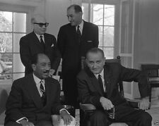President Lyndon Johnson LBJ with Egyptian Anwar Sadat 1966 New 8x10 Photo