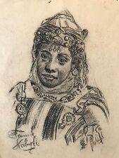 Algérie Kabyle Kabylie fusain signé Orientaliste Femme XIX - XXe Afrique Bijoux