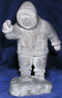 Inuit Soapstone Figurine Hand Carved Vtg Eskimo Ice Fishing Sculpture Signed 8""
