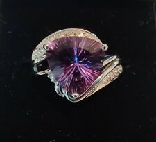 3 Carat Natural Amethyst 14K Solid White Gold Diamond Cocktail Ring