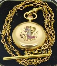 WOW! Antique 18k gold,enamel&diamonds LeCoultre caliber watch&gold chain.Ottoman
