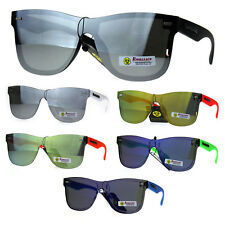 Biohazard Horn Rim Shield Hipster Rimless Plastic Skater Shade Sunglasses