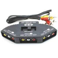 Electro AV RCA Phono Switch 3 Way Audio / Video TV DVD Input Multi Box Selector