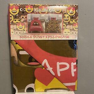 Emoji Poo Sh** Happens Funny Novelty Single Duvet Bedding Set With Pillowcase