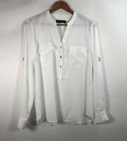 Ivanka Trump women's Size M 3 button front long sleeve semi sheer White blouse