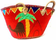 Handwoven & Leather Strap Shopping French Market Basket Bag Moroccan Red