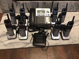 AT&T SB67138 4-Line Corded-Cordless Phone System w/ 8 SB67108 Handsets Bundle