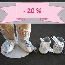 -20% - Lot de 2 CHAUSSURES bicolores en CUIR pour/de POUPEE BLEUETTE BLEU-BLANC