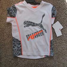 Puma Kids Boy's white & gray l T-Shirt - Sports Wear - NWT - size 4