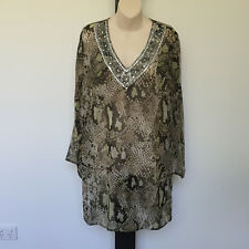 'SILVER ICE' BNWT SIZE 'S/M' BROWN & GREEN LONG SLEEVE PRINT TOP WITH BEADING