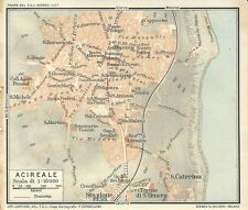 Carta geografica antica ACIREALE Pianta Catania Sicilia TCI 1919 Old antique map