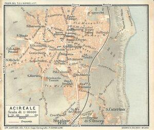 Carta geografica antica ACIREALE Pianta Catania Sicilia TCI 1919 Old antique map