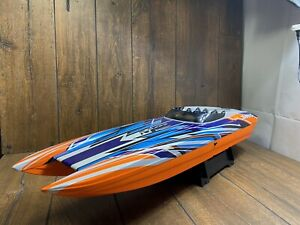 NEW Traxxas M41Catamaran Brushless Radio Controlled Boat Orange TQI  W/ Parts