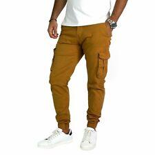 Pantaloni da Uomo Cargo Slim Fit Molla Caviglia Nero Verde Senape Cotone leggero
