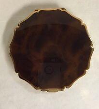 Vtg Stratton Compact England Brown Top Gold Tone Unique Shape Mirror Powder Puff