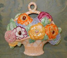 Vintage Beswick Art Deco Large Flower Basket Wall Plaque # 556