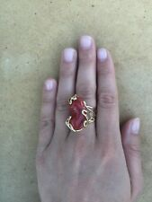 Anello argento 925 dorato Corallo di Sardegna ring red Made in Italy