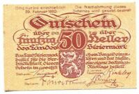 AUSTRIA NOTGELD Steiermark 1920 50 HELLER UNC SC P10313