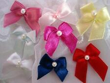 70 Satin Ribbon Bow Pearl Bead Center Trim/Craft/hand made/sewing/sew/flower F65