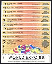1988 World Expo 1x $2 Banknotes Consecutive Serials Australia Brisbane TEX92