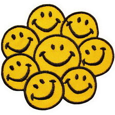 Bunch Smile Smily Face Emo Punk Embroidered Iron on Patches