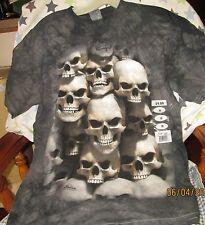 Gray Acid Wash Skulls T Shirt   Medium     NWT
