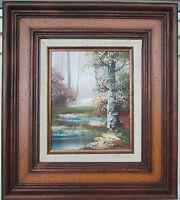 Original Framed Oil Painting Landscape Forest Stream Signed Altman