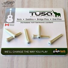 6 CHEVILLES TUSQ PP-1122 White Black Dot GRAPH TECH ACOUSTIC GUITAR BRIDGE PINS